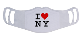 A washable and reusable polyester I love NY printed cloth face mask with two ear holes by each side